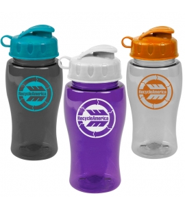 18 oz USA Made Recycled Flip Lid Transparent Water Bottle
