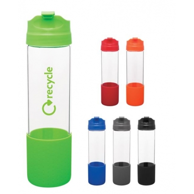 18 oz single wall borosilicate glass bottle with threaded snap fit lid and silicone sleeve