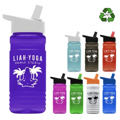 20 oz Recycled PETE Bottle With Flip Straw Lid