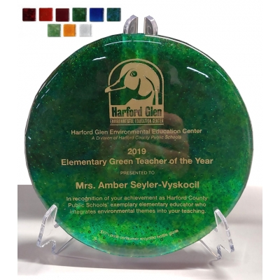 Round Recycled Glass Custom Award