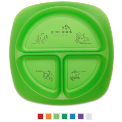 Kids portion plate, custom portion plate imprinted portion plate