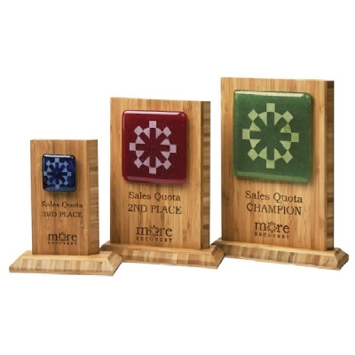 Recycled Glass Awards with Bamboo Base