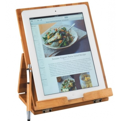 Engraved Bamboo Tablet Stand with Sylus