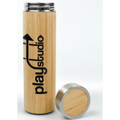 Bamboo and Stainless Steel Double Wall Insulated Water Bottle