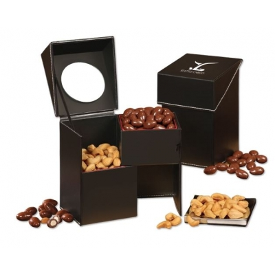 Chocolate Covered Almonds  Extra Fancy Jumbo Cashews in Reusable Storage Container Food Gifts
