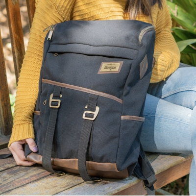 Custom Black Backpack with Seven Pockets
