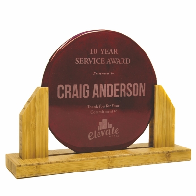 Custom Plaque | Bamboo | Recycled Glass Circle | USA Made