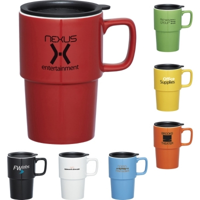 CLEARANCE | Custom Ceramic Travel Mugs with Lid | 17 oz