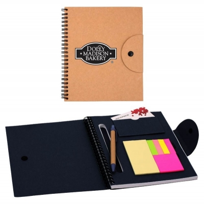 Recycled Journal with Sticky Notes Eco Friendly Journal