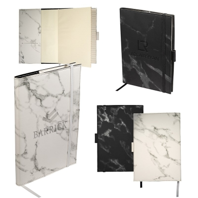 Refillable Faux Leather Cover Marble Finish Journal Medium