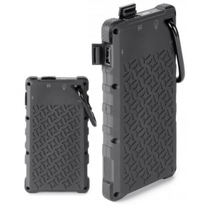 Branded Custom Solar charger with carabiner and flashlight
