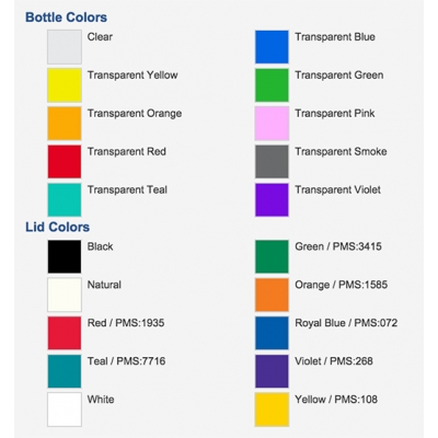 USA Made Water Bottle Colors
