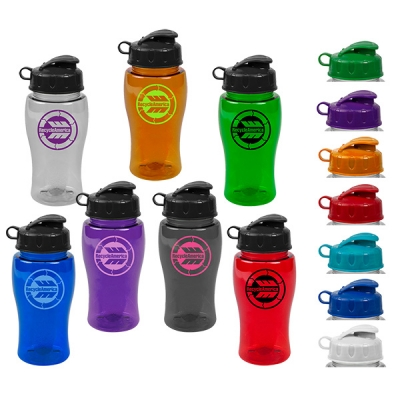 18 oz USA Made Recycled Flip Lid Transparent Water Bottle   Color Choices
