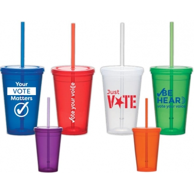 16oz USA made drinkware with reusable straw promo