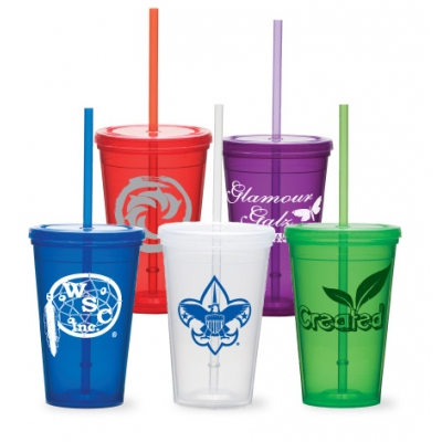 tumbler with straw, 16oz Double Wall Tumbler with Snap-on Lid USA made tumbler