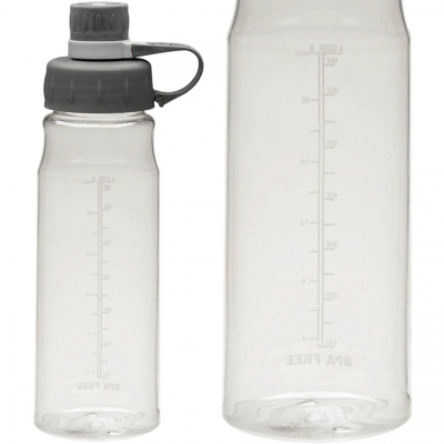 Clear Water Bottle with Measurement Scale on Back