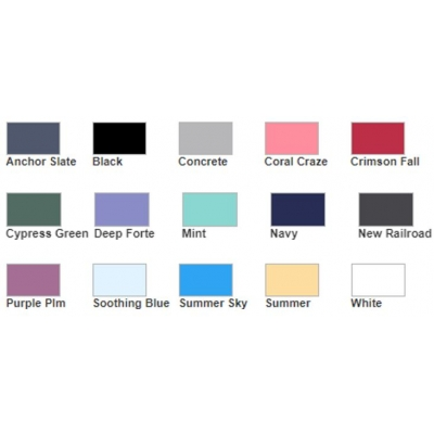 color chart for garment dyed short sleeve ts - USA grown cotton