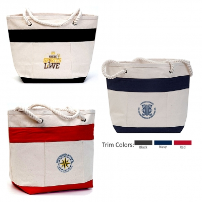 Cotton Canvas Striped Boat Tote   Recycled   16 oz   18x13x7