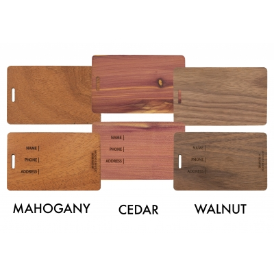 Custom Luggage Tags Wood Finishes USA Made