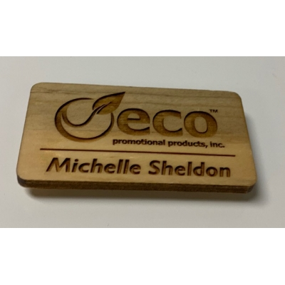 Custom engraved recycled wood name badge