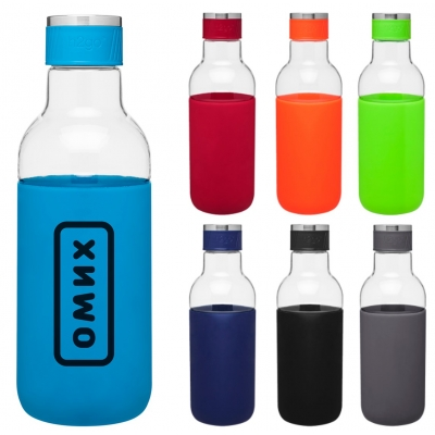single wall tritan copolyester bottle with silicone sleeve reusable water bottle