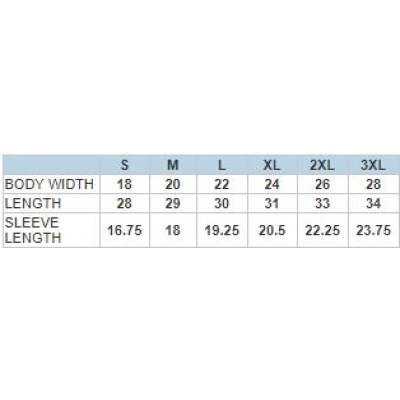 size chart for garment dyed short sleeve ts - USA grown cotton