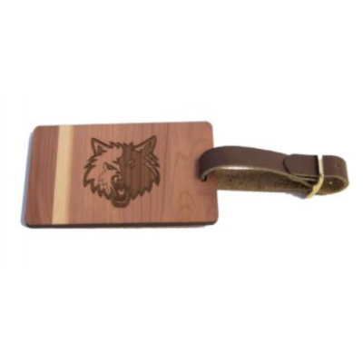 sports logo wood luggage tag