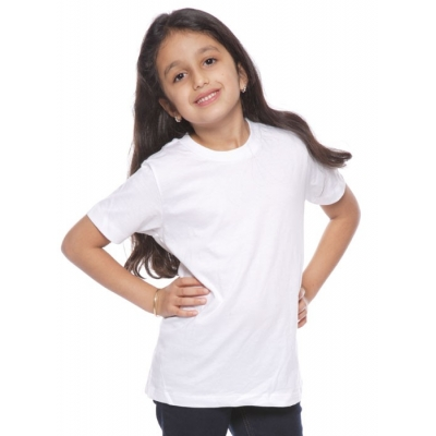 Youth customizable organic cotton USA made short sleeve t-shirt-white