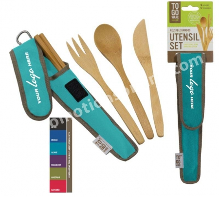 To-Go Ware Bamboo Travel Utensils Utensil Set with Carrying Case Indigo