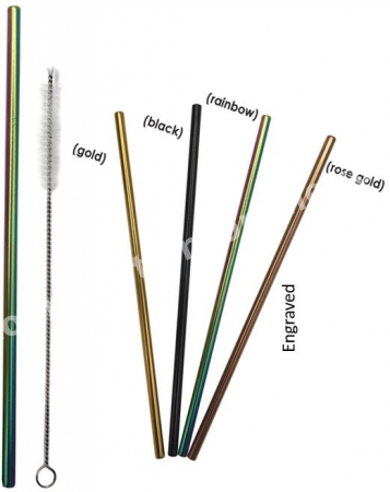Colored Stainless Steel Straws | Engraved | Cleaning Brush